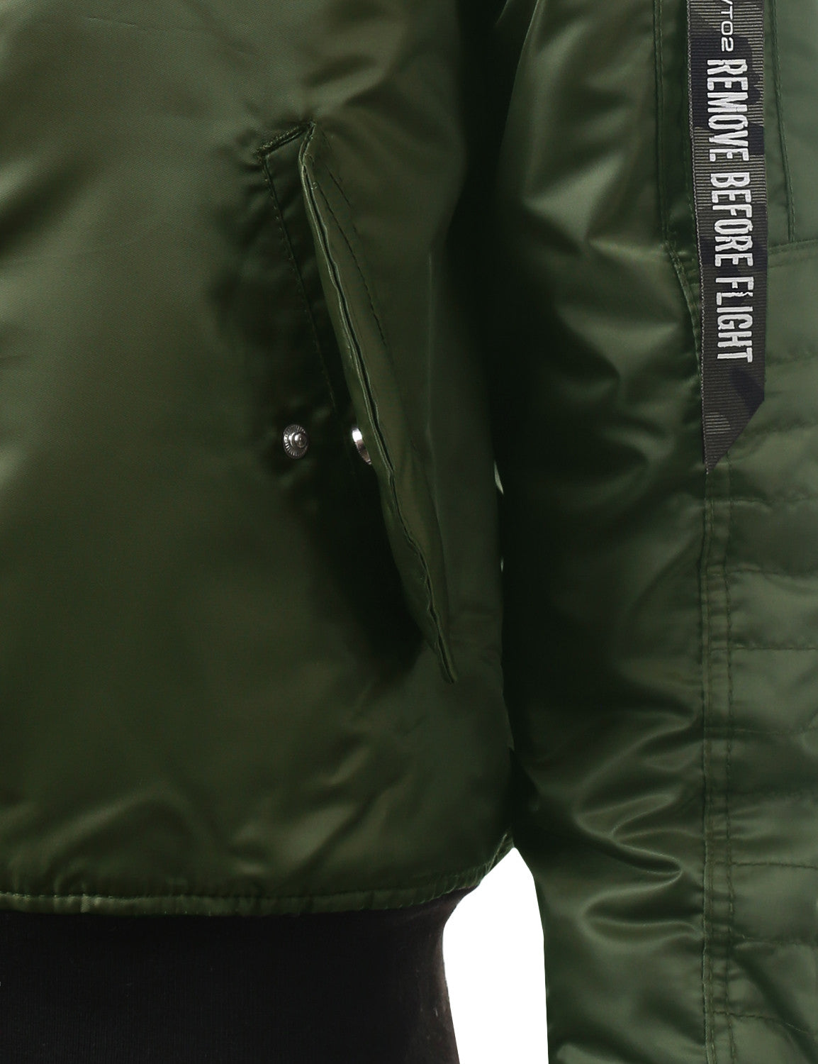 OLIVE Basic Bomber Flight Jacket w/ Zippers - URBANCREWS