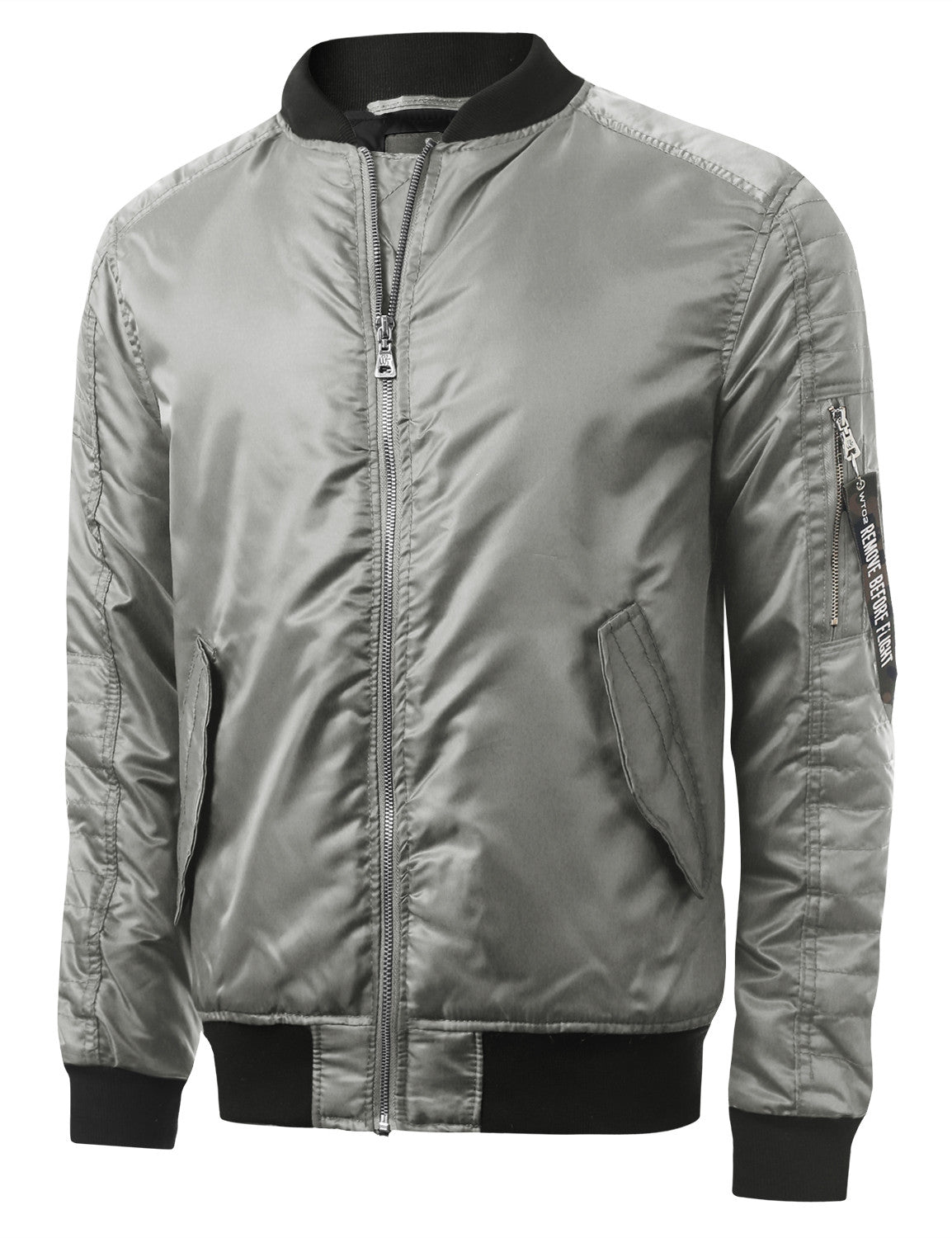 SILVER Basic Bomber Flight Jacket w/ Zippers - URBANCREWS