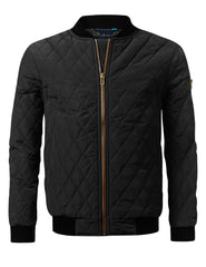 BLACK Quilted Bomber Flight Jacket - URBANCREWS