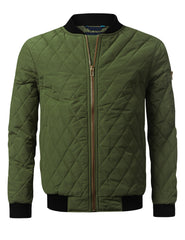 OLIVE Quilted Bomber Flight Jacket - URBANCREWS