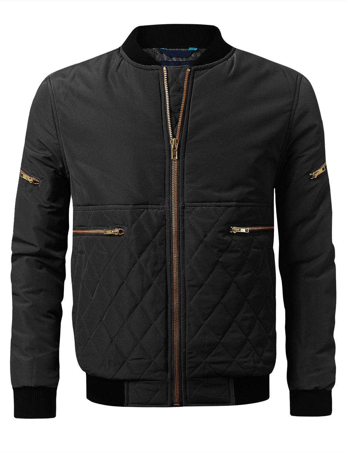 BLACK Bomber Jacket with Quilted Trim - URBANCREWS