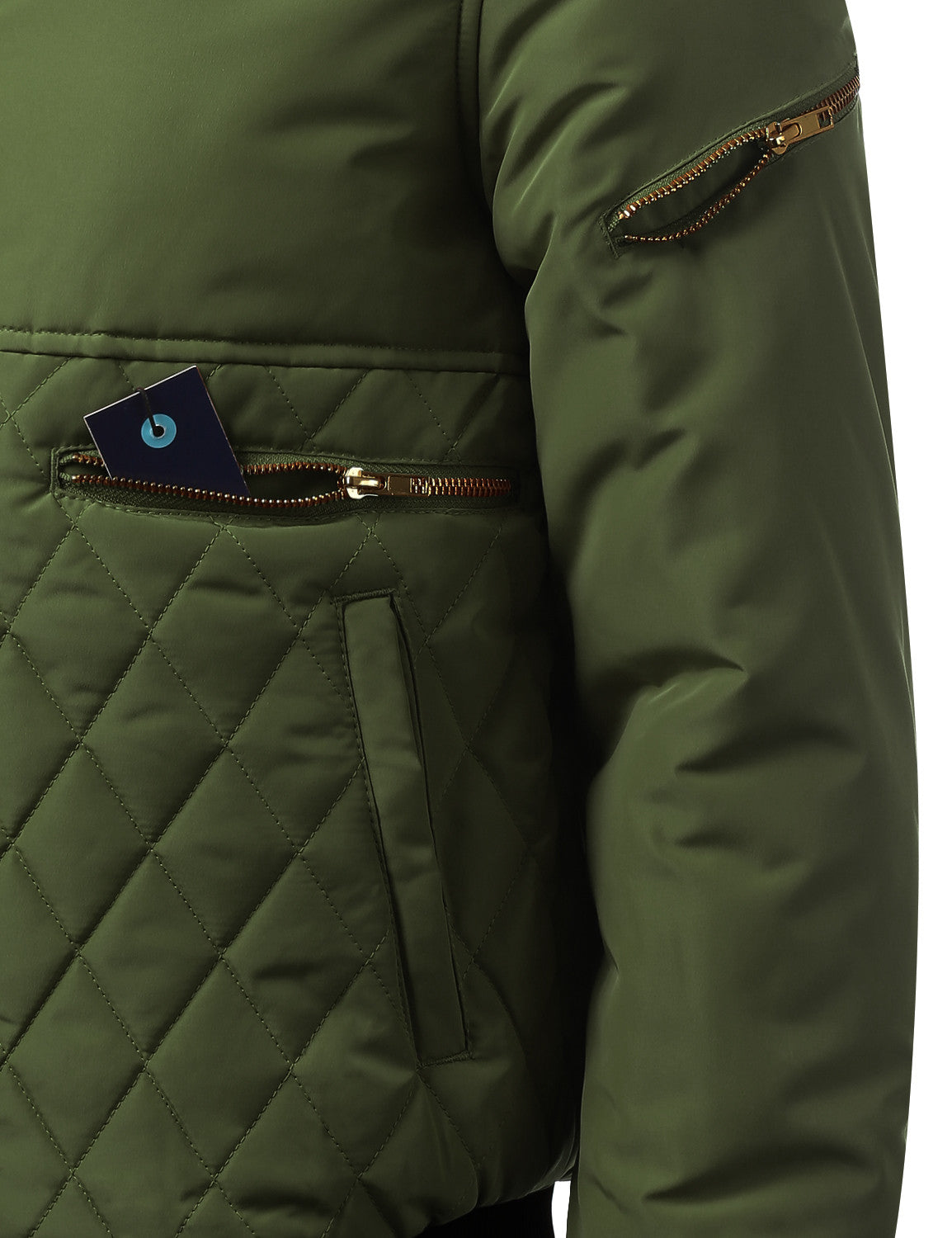 OLIVE Bomber Jacket with Quilted Trim - URBANCREWS
