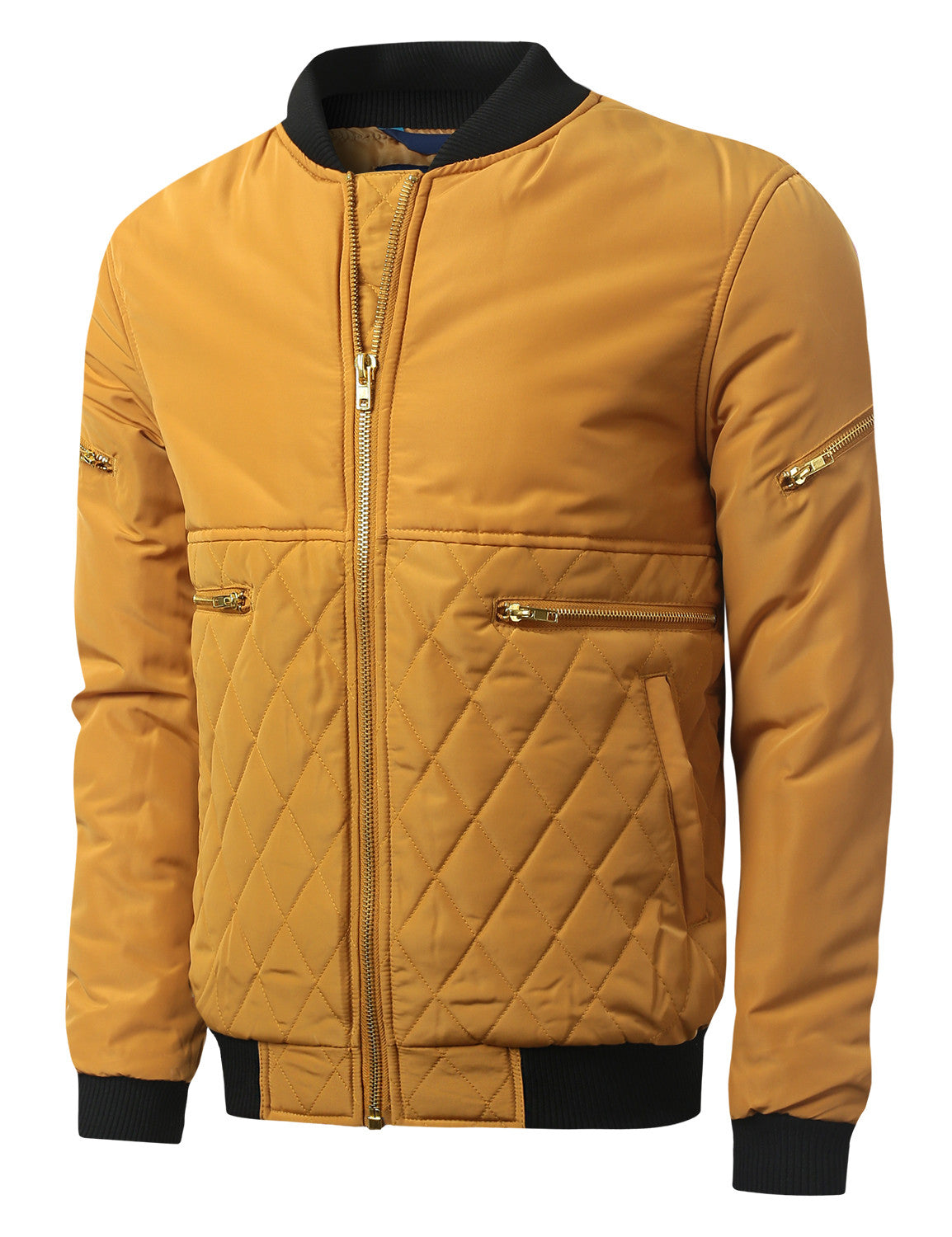 TIMBER Bomber Jacket with Quilted Trim - URBANCREWS