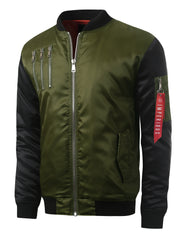 OLIVE Triple Zipper Bomber Flight Jacket - URBANCREWS