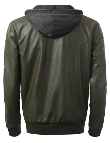 Faux Leather Bomber Jacket w/ Hood