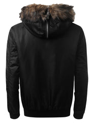 BLACK Bomber Jacket w/ Faux Fur Hood - URBANCREWS