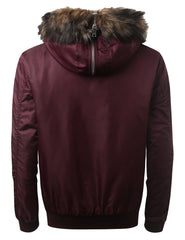 BURGUNDY Bomber Jacket w/ Faux Fur Hood - URBANCREWS