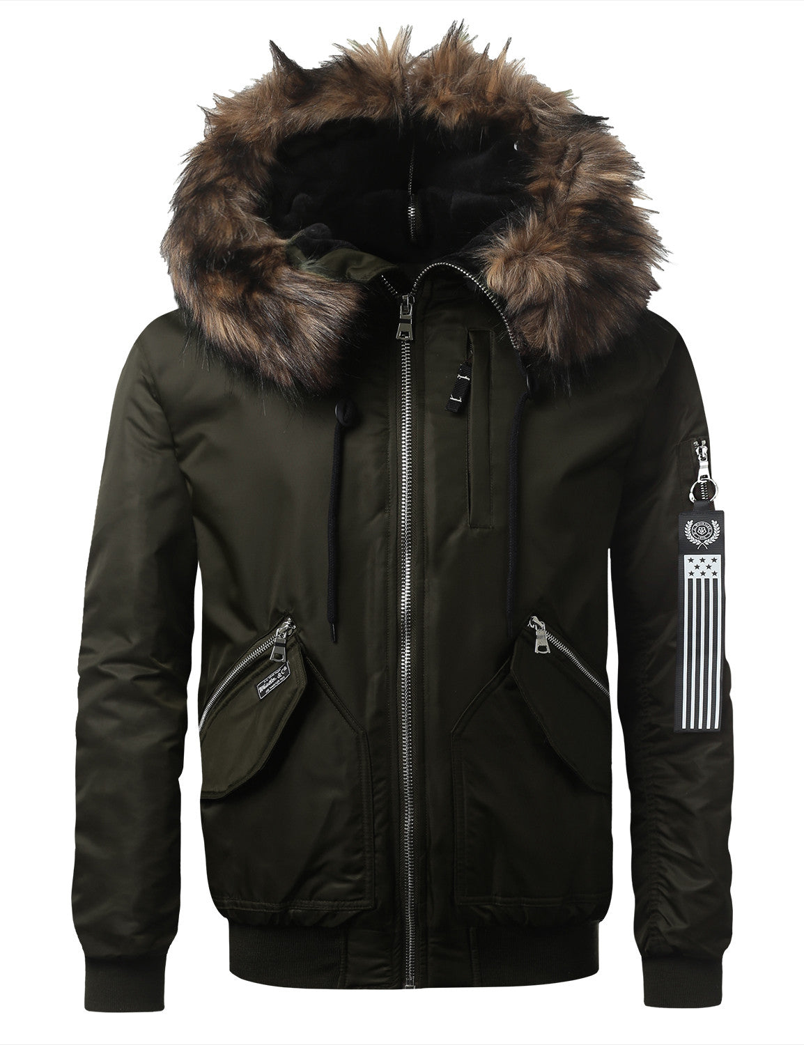 OLIVE Bomber Jacket w/ Faux Fur Hood - URBANCREWS