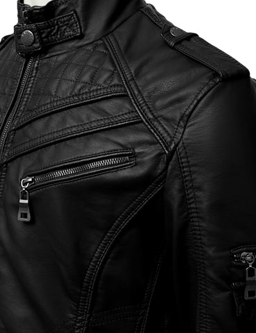 PU Leather Zippered Jacket