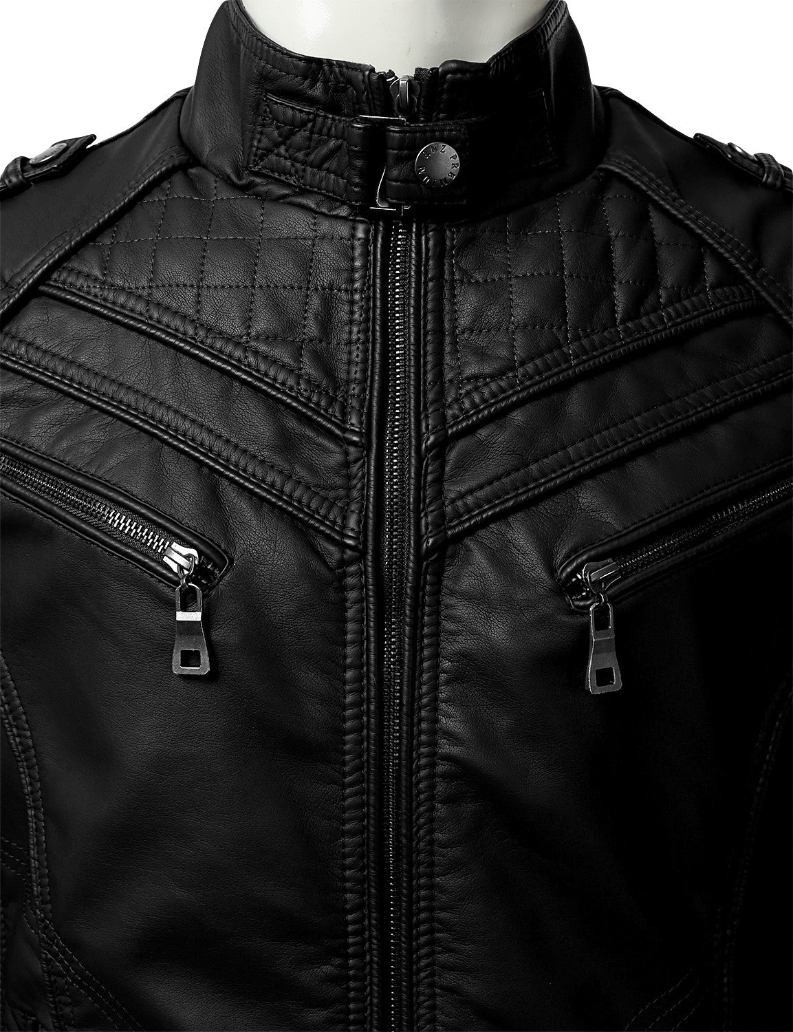 BLACK PU Leather Zippered Jacket - URBANCREWS