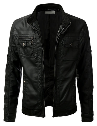 PU Leather Designer Buckled Hooded Jacket