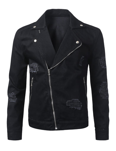Distressed Twill Biker Jacket