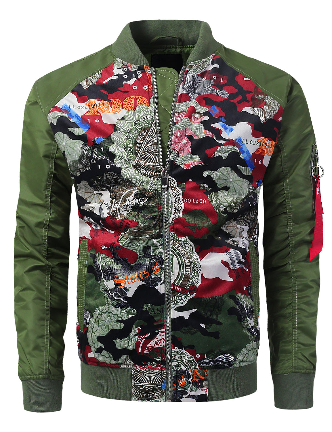 OLIVE Bill Camo Printed Suede Bomber Jacket - URBANCREWS