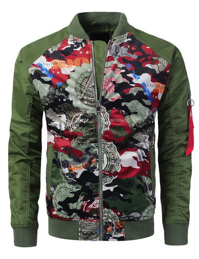 Bill Camo Printed Suede Bomber Jacket