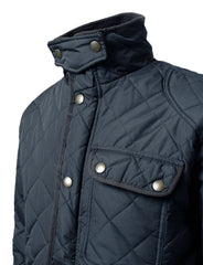 NAVY Marco Diamond Quilted Winter Coat - URBANCREWS