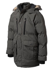 CHARCOAL Base Camp Puffer Parka Jacket w/ Faux Fur - URBANCREWS