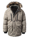 KHAKI Base Camp Puffer Parka Jacket w/ Faux Fur - URBANCREWS
