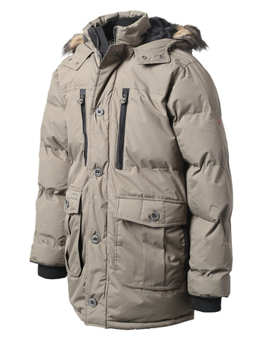 Base Camp Puffer Parka Jacket w/ Faux Fur