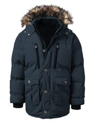 NAVY Base Camp Puffer Parka Jacket w/ Faux Fur - URBANCREWS