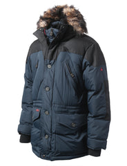 NAVY Denali Snorkel Hooded Jacket w/ Faux Fur Hood - URBANCREWS
