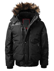 BLACK Timber Top Puffer Jacket w/ Faux Fur Hood - URBANCREWS