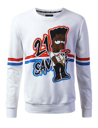 """SAVAGE"" Striped Crewneck Sweater"