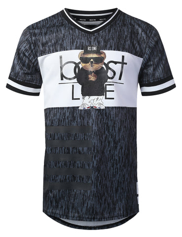 """BOOST LIFE"" Stripe V-Neck Jersey T-shirt"
