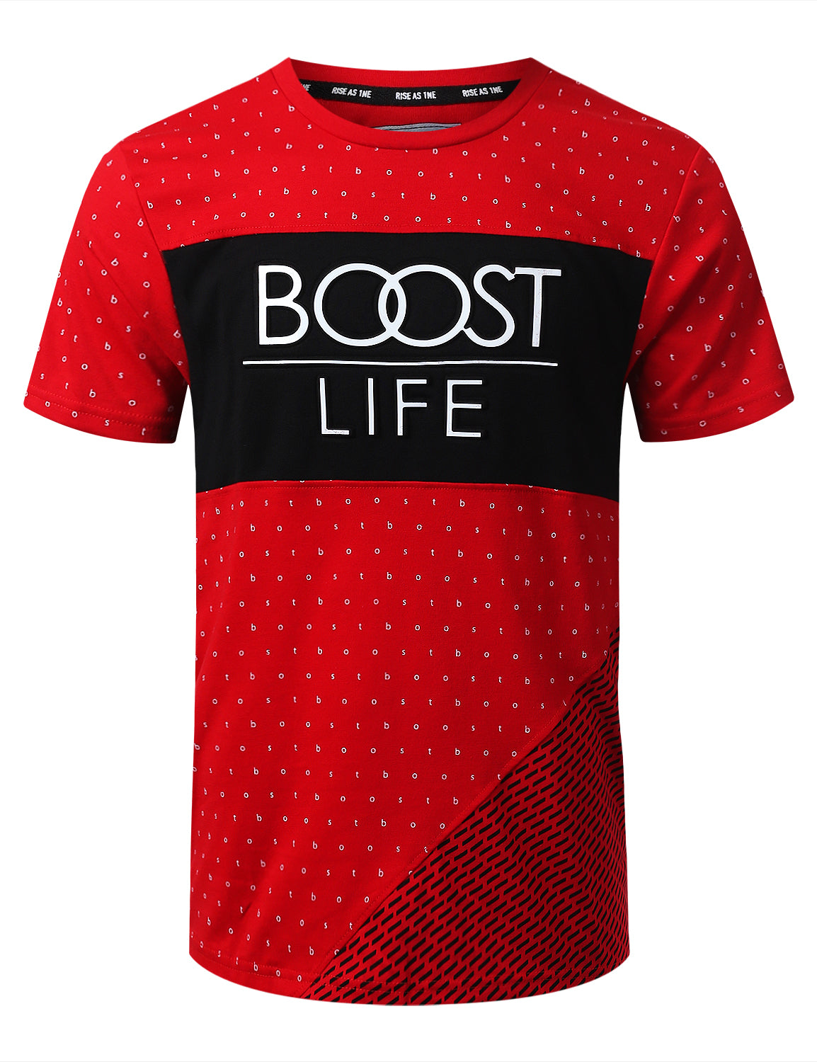 RED BOOST LIFE Pattern Print Graphic T-shirt - URBANCREWS