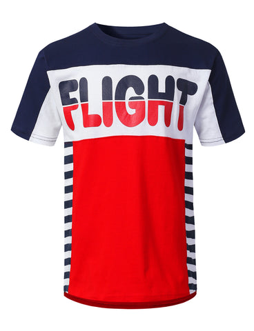 Color Block Flight Print T-shirt