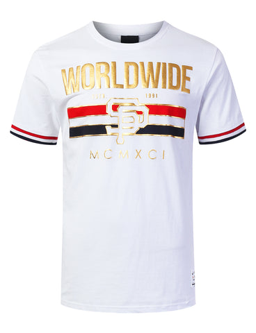 """WORLDWIDE"" Striped Graphic T-shirt"