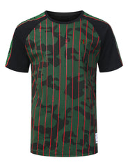 GREEN Pinstripe Camo Graphic Raglan T-shirt - URBANCREWS