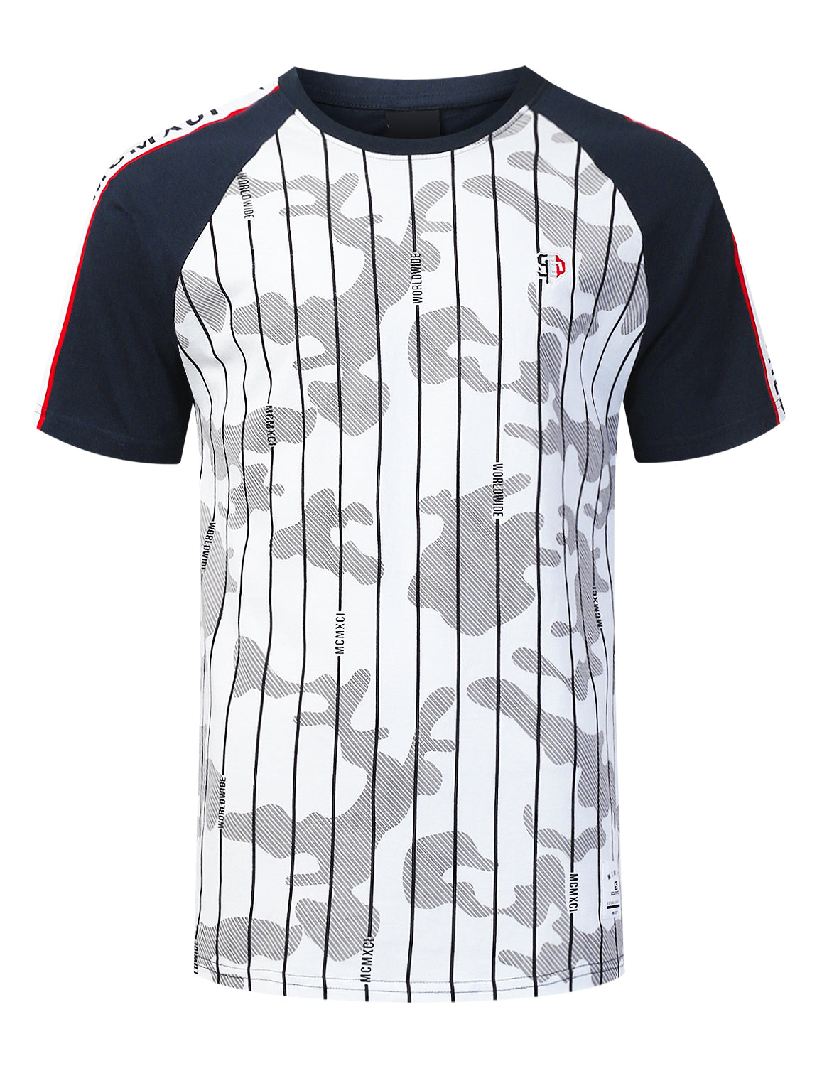 WHITE Pinstripe Camo Graphic Raglan T-shirt - URBANCREWS