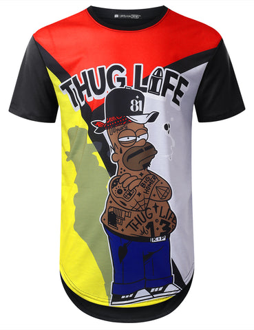 """THUG LIFE"" Color Block Graphic T-shirt"