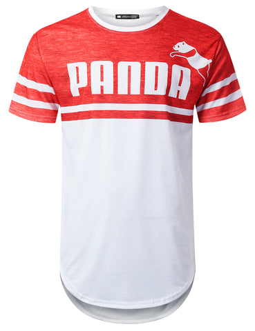 """PANDA"" Striped Graphic T-shirt"