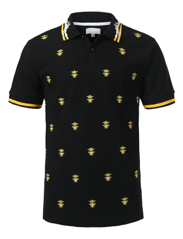 Crown Bee Print Polo T-shirt