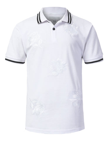 Big Rose Print Polo T-shirt