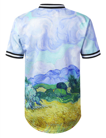 Masterpiece Print Button Up Jersey T-shirt