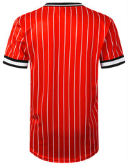 RED Champion Pinstripe V-neck Jersey T-shirt - URBANCREWS