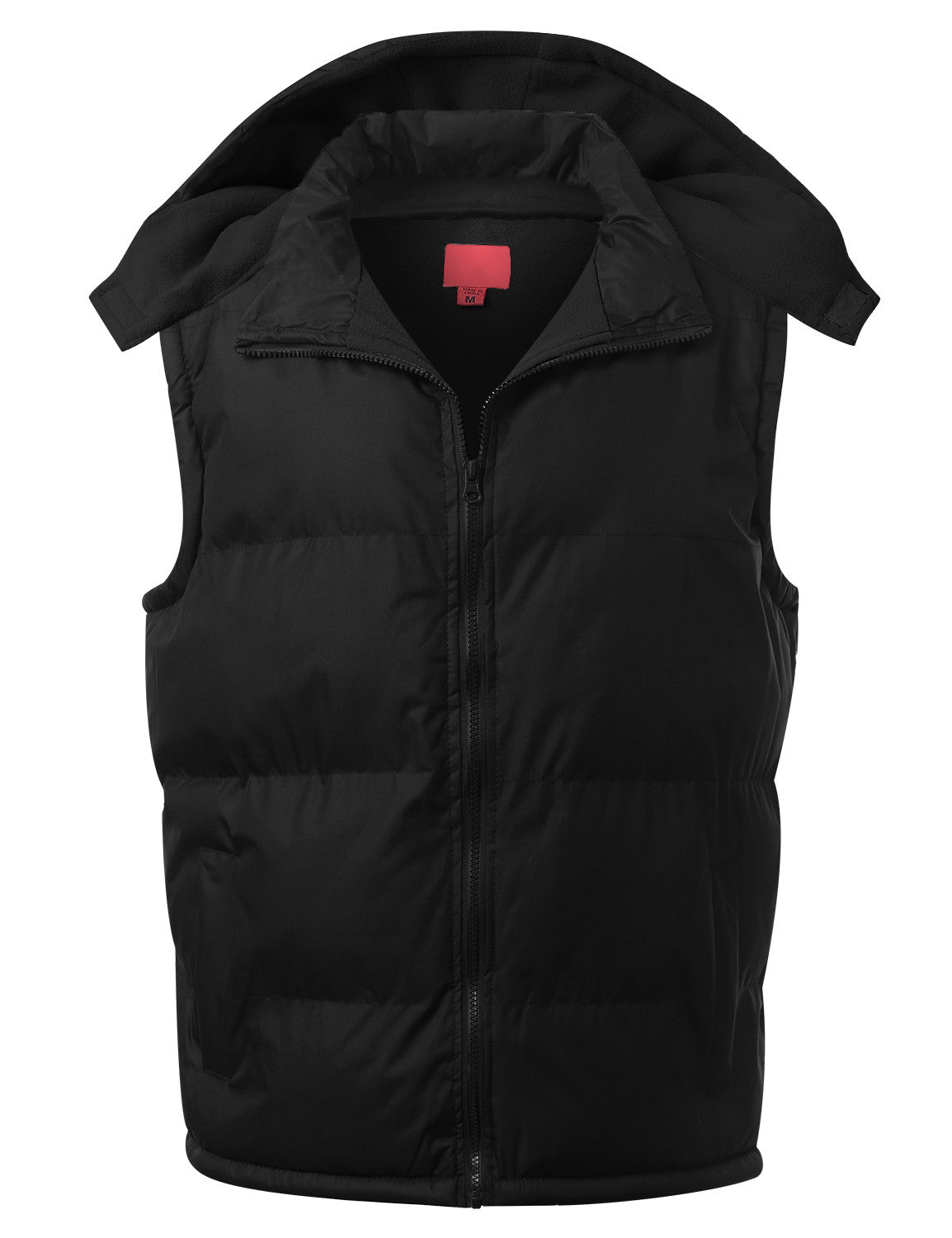 BLACK Fleece Lined Puffer Vest w/ Hood - URBANCREWS