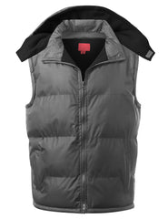 CHARCOAL Fleece Lined Puffer Vest w/ Hood - URBANCREWS