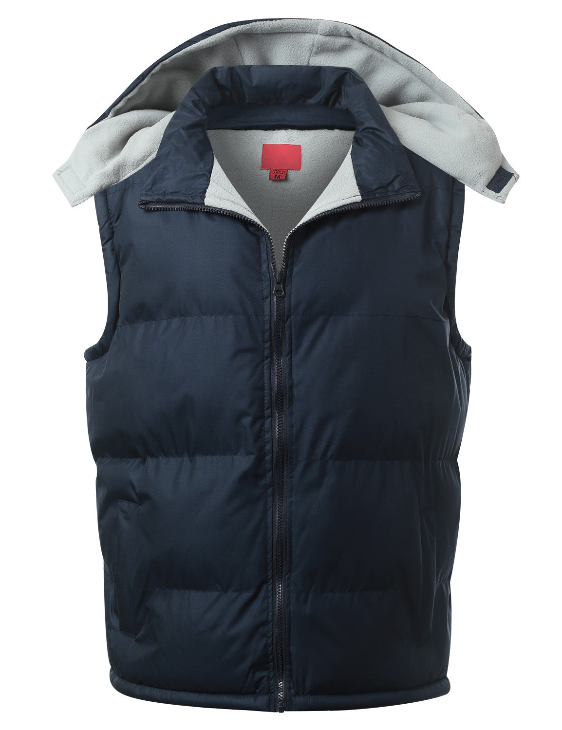 NAVY Fleece Lined Puffer Vest w/ Hood - URBANCREWS