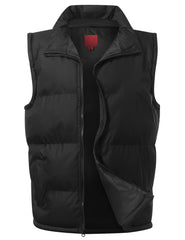 BLACK Nylon Puffer Vest Jacket - URBANCREWS
