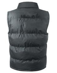 CHARCOAL Nylon Puffer Vest Jacket - URBANCREWS