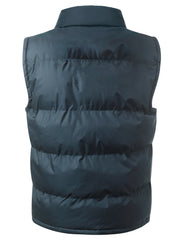 NAVY Nylon Puffer Vest Jacket - URBANCREWS