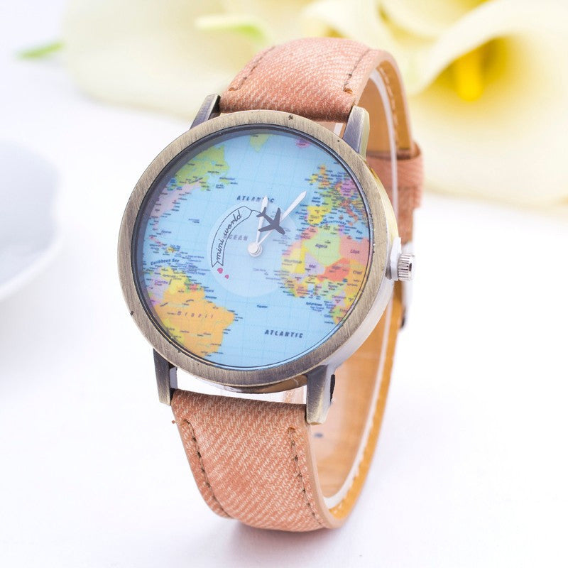 Travelers World Map Denim Watch Super Cute Stuff – Travelers World Map