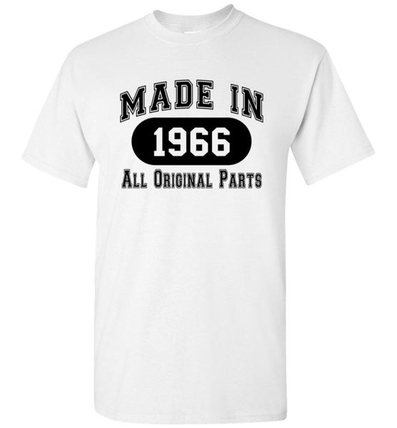 50th Birthday Gift Made in 1966 All Original Parts T-Shirt - white ink - What Are These? - 13