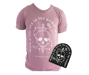 """Death & Life"" Mauve Unisex Triblend/Enamel Pin Bundle"