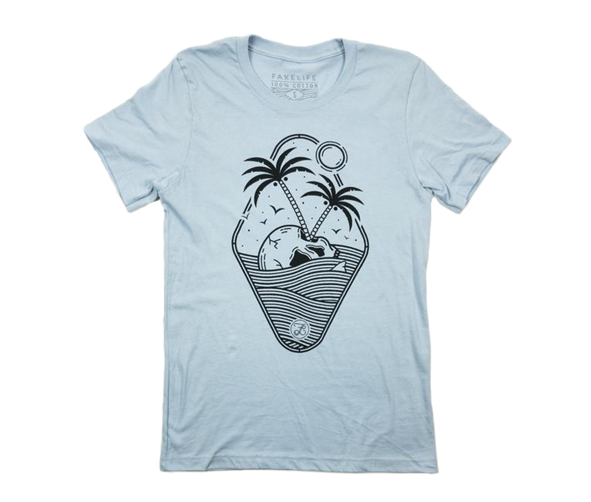 Skull Island UNISEX Tee (Light Blue & Light Pink)
