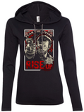 ladies long sleeve hooded t-shirt (lightweight) - RISE UP, Rick Grimes