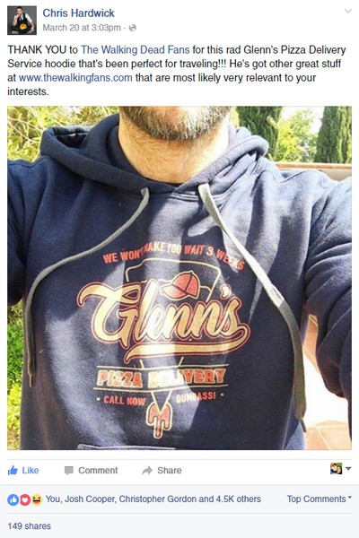 chris hardwick glenn's pizza shirt and hoodie